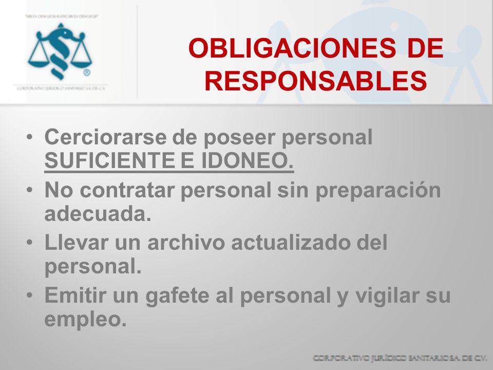 OBLIGACIONES DE RESPONSABLES Proporcionar INFORMACION Y RESUMENES CLINICOS.