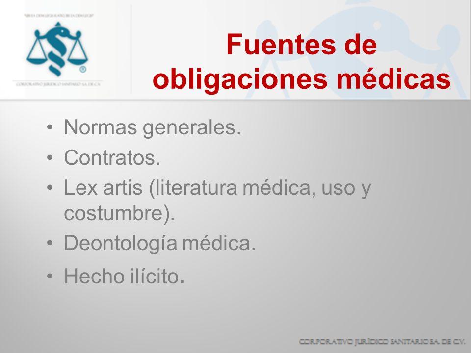 Lex artis médica El conjunto de reglas para el ejercicio médico contenidas en la literatura universalmente aceptada, en las cuales se establecen los medios ordinarios para la atención médica y los criterios para su empleo.