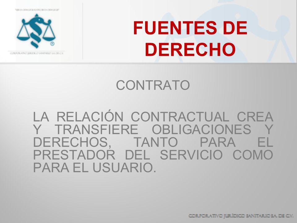 FUENTES DE DERECHO CONTRATO DE MEDIOS PROPORCIONAR TODOS LOS RECURSOS QUE REQUIERA LA CONDICIÓN ESPECÍFICA DEL PACIENTE.