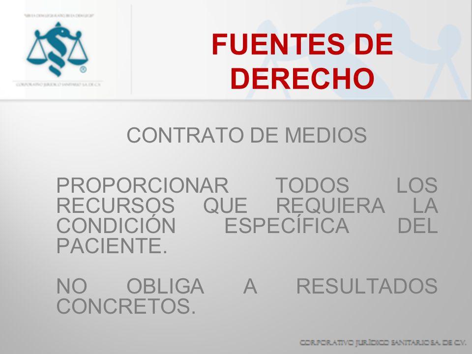 FUENTES DE DERECHO CONTRATO DE MEDIOS EL INCUMPLIMIENTO PUEDE GENERAR RESPONSABILIDAD CIVIL, PENAL O ADMINISTRATIVA.