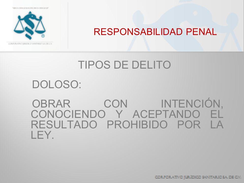 RESPONSABILIDAD PENAL TIPOS DE DELITO IMPRUDENCIAL: SE ACTÚA INCUMPLIENDO UN DEBER DE CUIDADO QUE LAS CIRCUNSTANCIAS Y CONDICIONES PERSONALES IMPONEN.