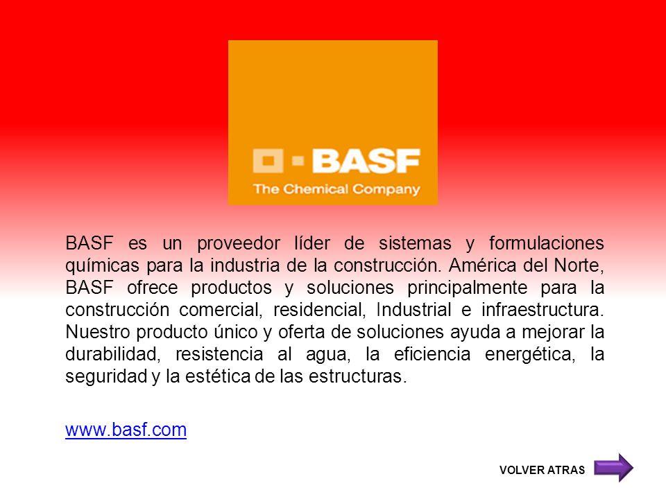 BASF es un proveedor líder de sistemas y formulaciones químicas para la industria de la construcción. América del Norte, BASF ofrece productos y soluc