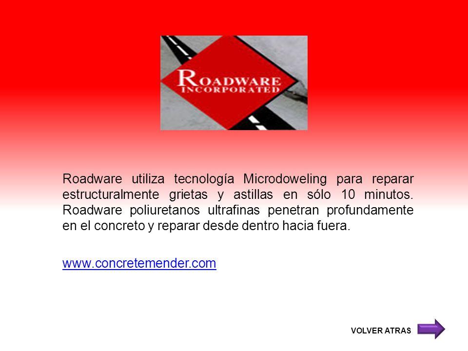 Roadware utiliza tecnología Microdoweling para reparar estructuralmente grietas y astillas en sólo 10 minutos. Roadware poliuretanos ultrafinas penetr