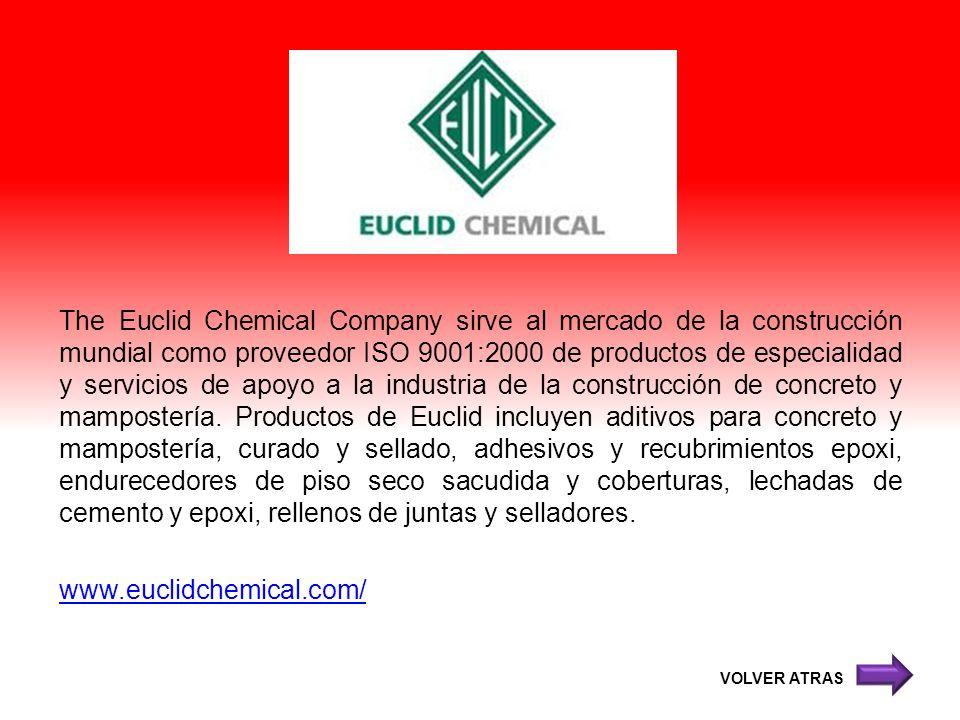 The Euclid Chemical Company sirve al mercado de la construcción mundial como proveedor ISO 9001:2000 de productos de especialidad y servicios de apoyo