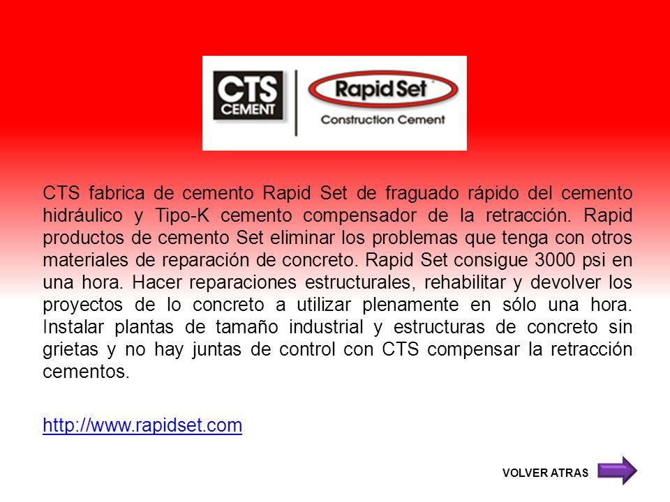 CTS fabrica de cemento Rapid Set de fraguado rápido del cemento hidráulico y Tipo-K cemento compensador de la retracción. Rapid productos de cemento S