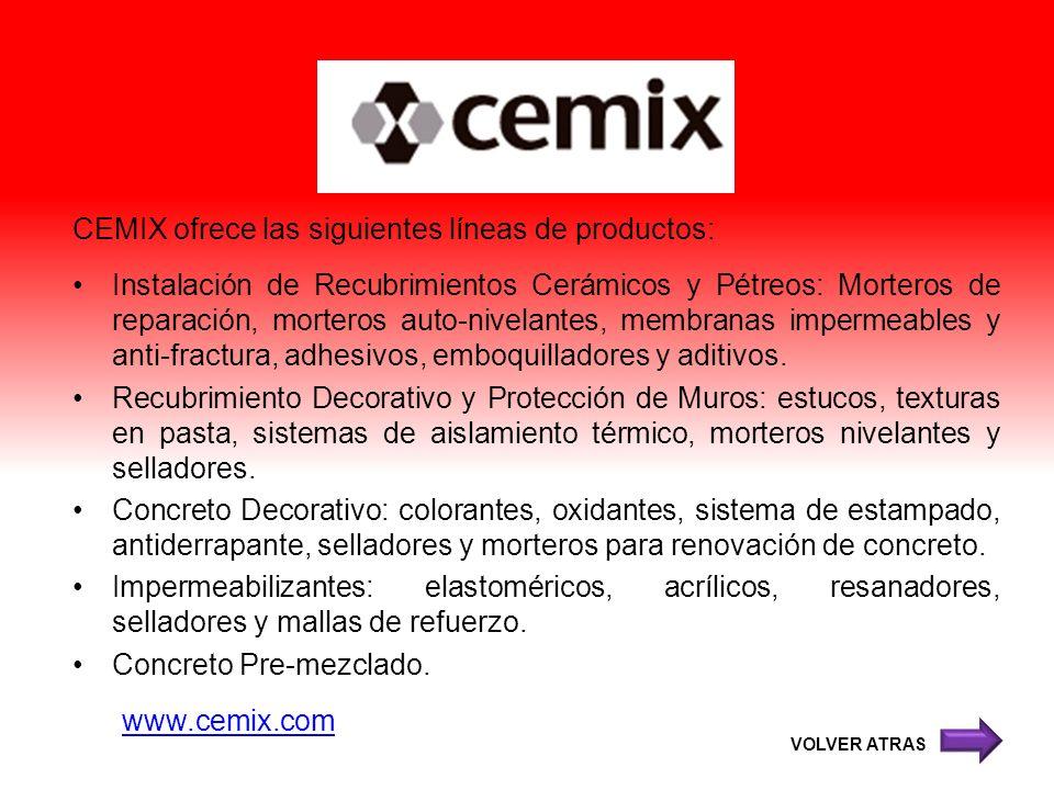 CEMIX ofrece las siguientes líneas de productos: Instalación de Recubrimientos Cerámicos y Pétreos: Morteros de reparación, morteros auto-nivelantes,