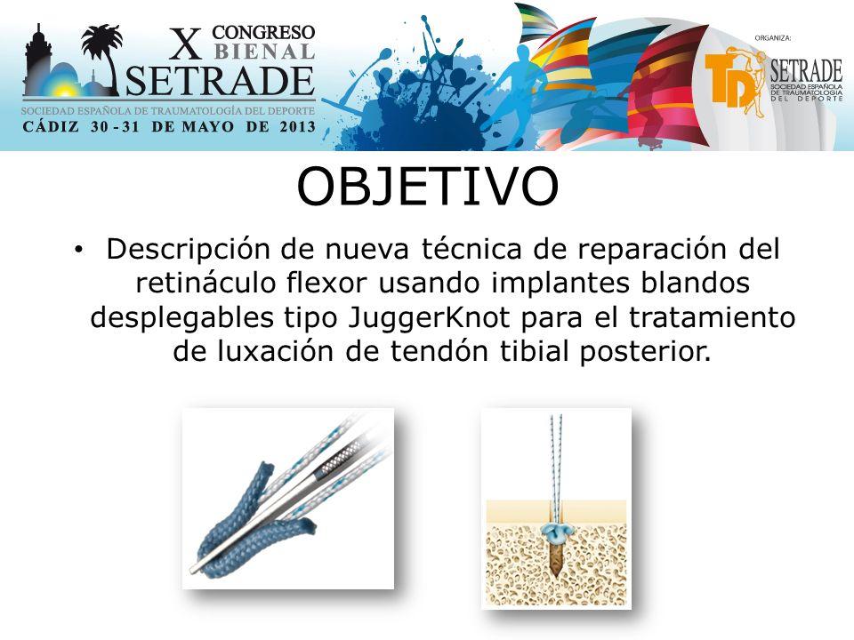 OBJETIVO Descripción de nueva técnica de reparación del retináculo flexor usando implantes blandos desplegables tipo JuggerKnot para el tratamiento de luxación de tendón tibial posterior.