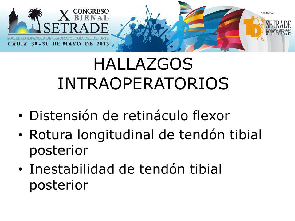 HALLAZGOS INTRAOPERATORIOS Distensión de retináculo flexor Rotura longitudinal de tendón tibial posterior Inestabilidad de tendón tibial posterior