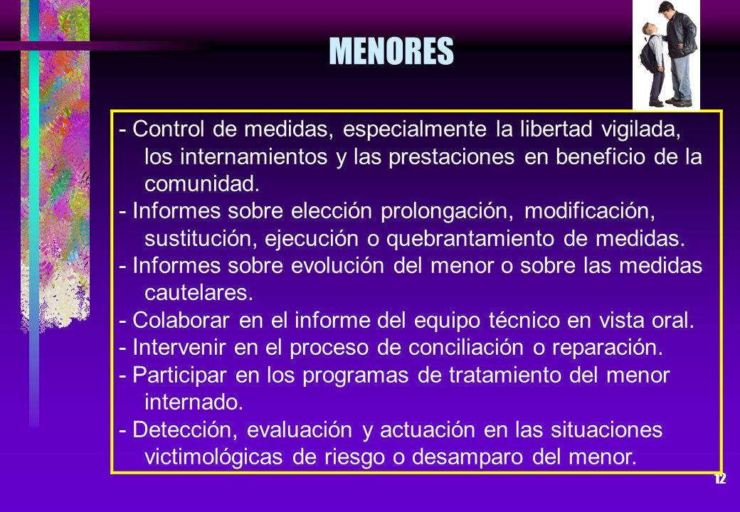 12 - Control de medidas, especialmente la libertad vigilada, los internamientos y las prestaciones en beneficio de la comunidad. - Informes sobre elec