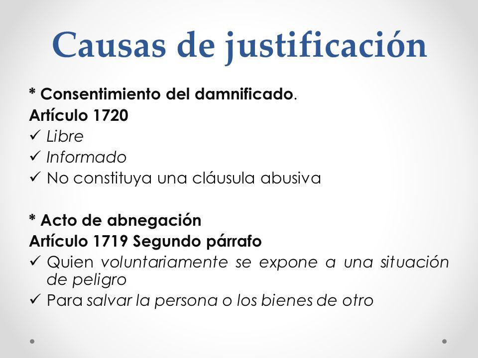 Causas de justificación * Consentimiento del damnificado. Artículo 1720 Libre Informado No constituya una cláusula abusiva * Acto de abnegación Artícu