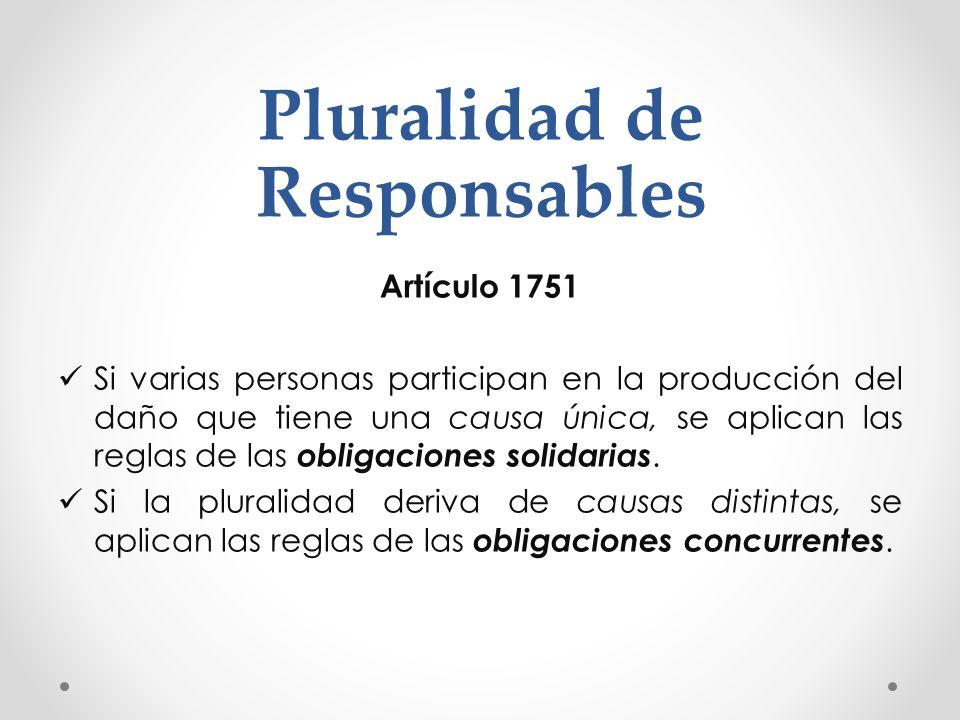 Pluralidad de Responsables Artículo 1751 Si varias personas participan en la producción del daño que tiene una causa única, se aplican las reglas de l