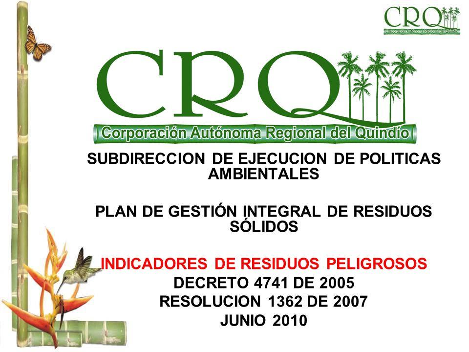 SUBDIRECCION DE EJECUCION DE POLITICAS AMBIENTALES PLAN DE GESTIÓN INTEGRAL DE RESIDUOS SÓLIDOS INDICADORES DE RESIDUOS PELIGROSOS DECRETO 4741 DE 200