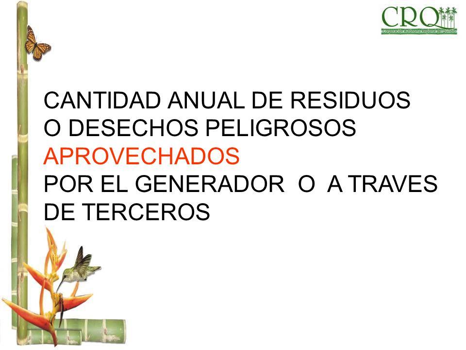 CANTIDAD ANUAL DE RESIDUOS O DESECHOS PELIGROSOS APROVECHADOS POR EL GENERADOR O A TRAVES DE TERCEROS