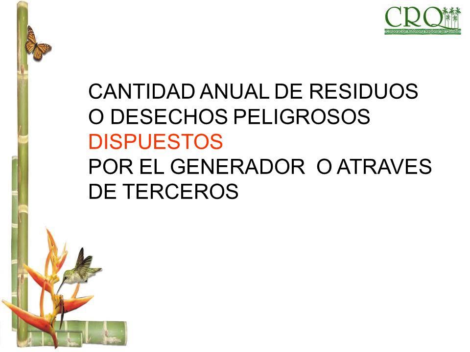 CANTIDAD ANUAL DE RESIDUOS O DESECHOS PELIGROSOS DISPUESTOS POR EL GENERADOR O ATRAVES DE TERCEROS