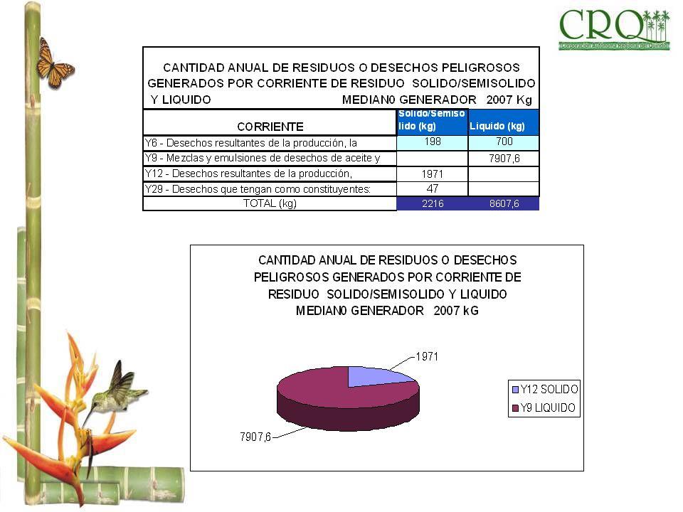 CANTIDAD ANUAL DE RESIDUOS O DESECHOS PELIGROSOS GENERADOS POR CORRIENTE DE RESIDUO SOLIDO/SEMISOLIDO Y LIQUIDO MEDIAN0 GENERADOR 2007 Kg CORRIENTECOR