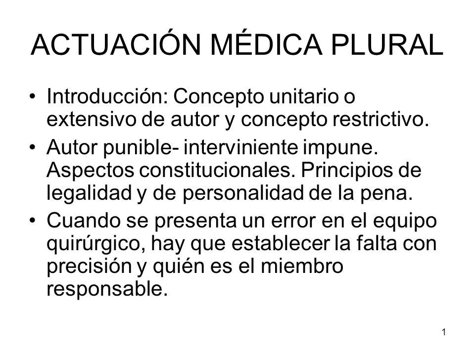 1 ACTUACIÓN MÉDICA PLURAL Introducción: Concepto unitario o extensivo de autor y concepto restrictivo. Autor punible- interviniente impune. Aspectos c