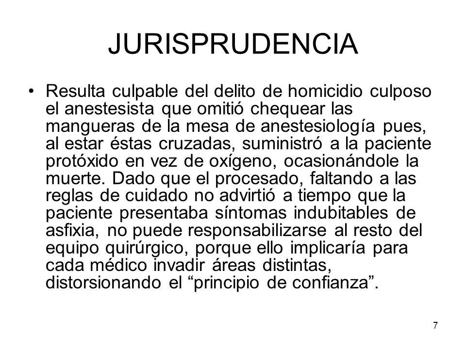 7 JURISPRUDENCIA Resulta culpable del delito de homicidio culposo el anestesista que omitió chequear las mangueras de la mesa de anestesiología pues,