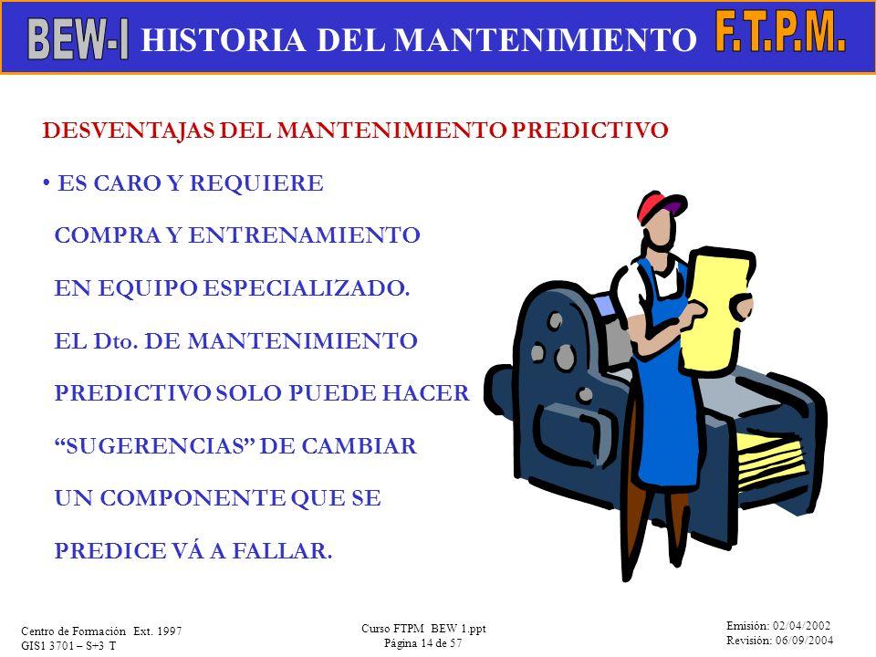 Emisión: 02/04/2002 Revisión: 06/09/2004 Centro de Formación Ext. 1997 GIS1 3701 – S+3 T Curso FTPM BEW 1.ppt Página 14 de 57 DESVENTAJAS DEL MANTENIM