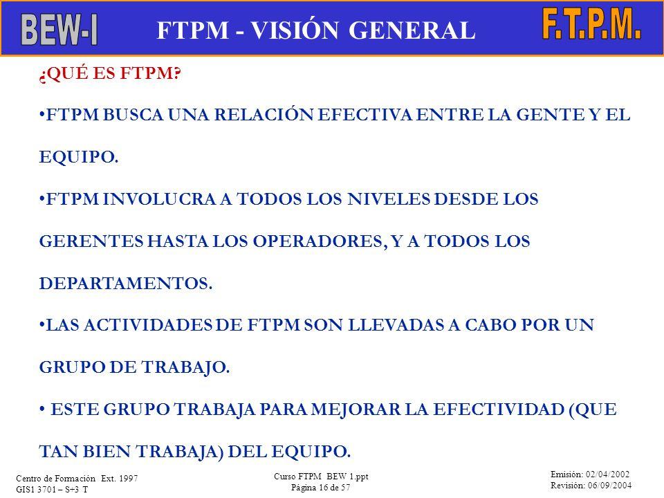 Emisión: 02/04/2002 Revisión: 06/09/2004 Centro de Formación Ext. 1997 GIS1 3701 – S+3 T Curso FTPM BEW 1.ppt Página 16 de 57 ¿QUÉ ES FTPM? FTPM BUSCA