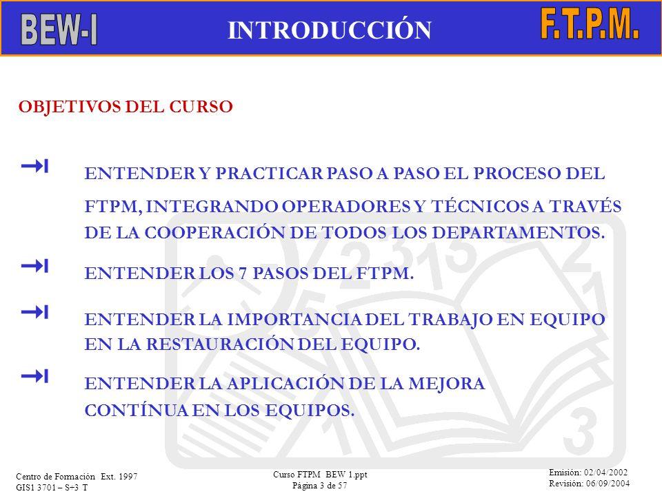 Emisión: 02/04/2002 Revisión: 06/09/2004 Centro de Formación Ext. 1997 GIS1 3701 – S+3 T Curso FTPM BEW 1.ppt Página 3 de 57 OBJETIVOS DEL CURSO ENTEN