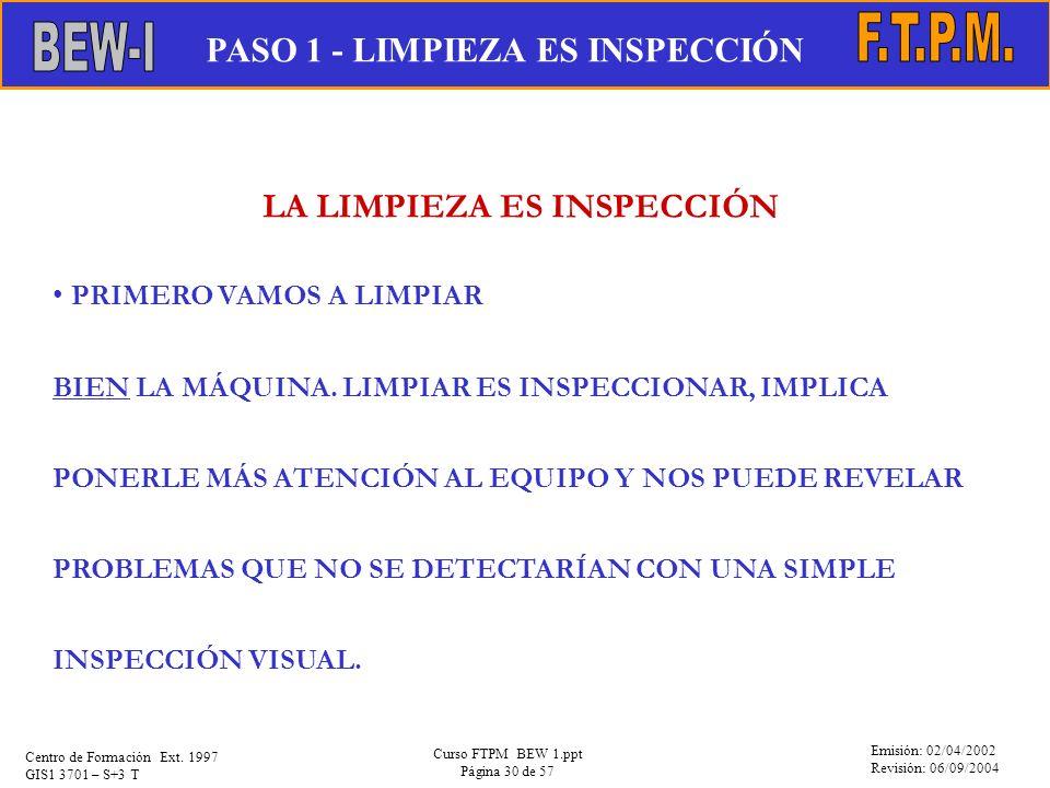 Emisión: 02/04/2002 Revisión: 06/09/2004 Centro de Formación Ext. 1997 GIS1 3701 – S+3 T Curso FTPM BEW 1.ppt Página 30 de 57 LA LIMPIEZA ES INSPECCIÓ