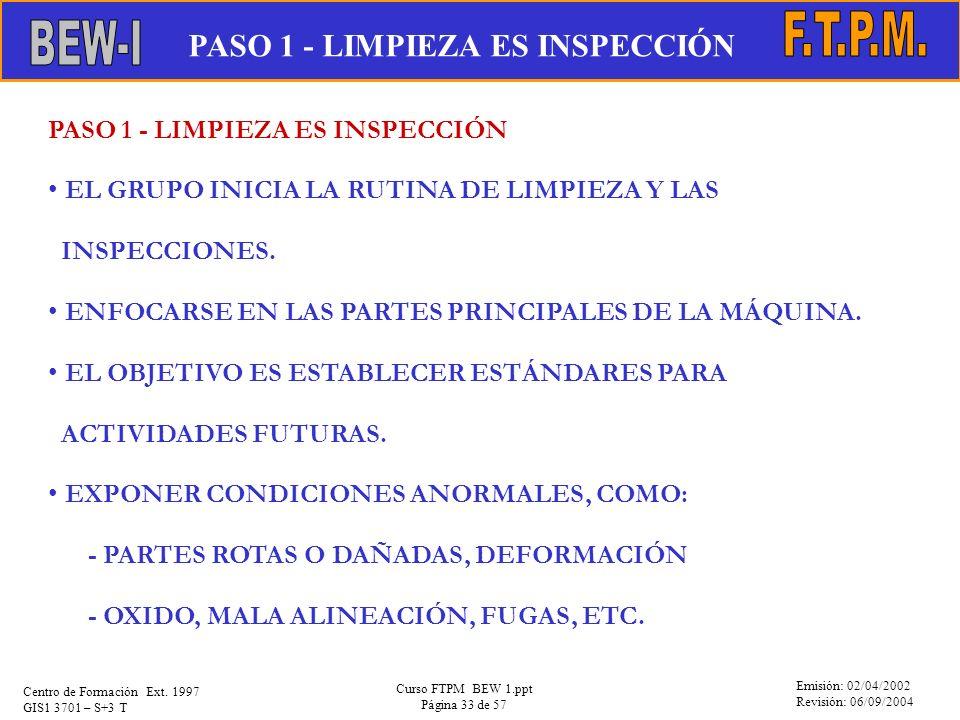 Emisión: 02/04/2002 Revisión: 06/09/2004 Centro de Formación Ext. 1997 GIS1 3701 – S+3 T Curso FTPM BEW 1.ppt Página 33 de 57 PASO 1 - LIMPIEZA ES INS