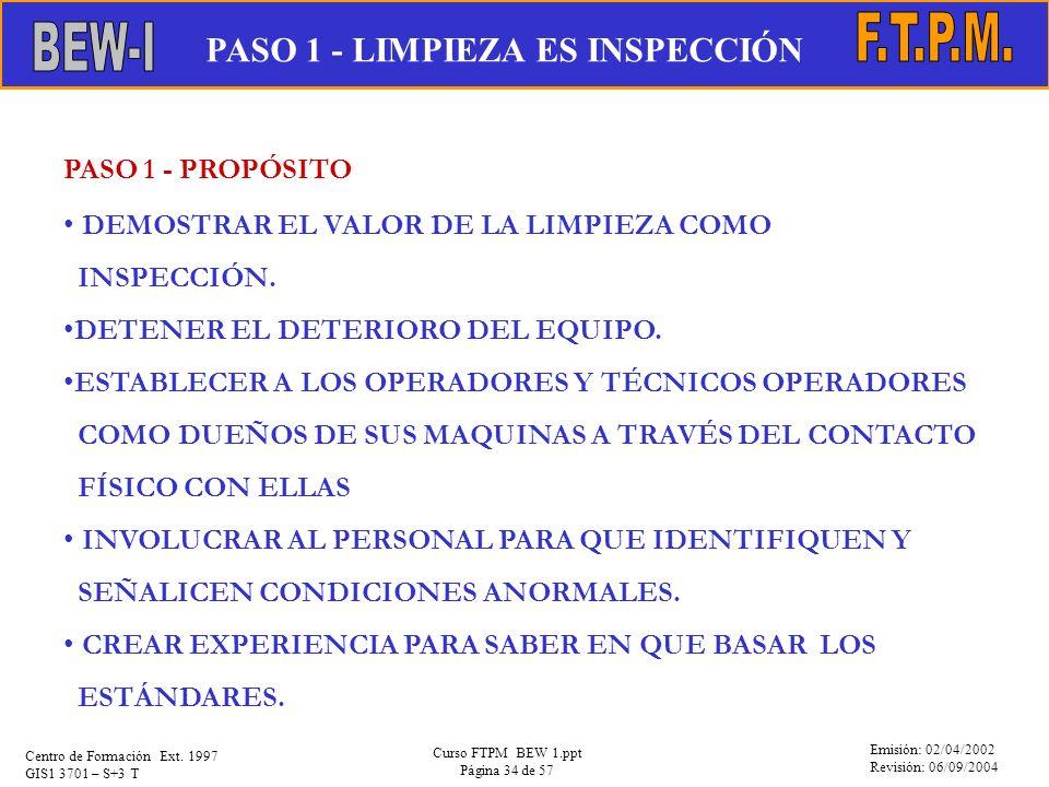 Emisión: 02/04/2002 Revisión: 06/09/2004 Centro de Formación Ext. 1997 GIS1 3701 – S+3 T Curso FTPM BEW 1.ppt Página 34 de 57 PASO 1 - PROPÓSITO DEMOS