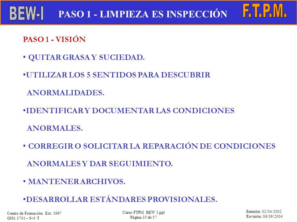 Emisión: 02/04/2002 Revisión: 06/09/2004 Centro de Formación Ext. 1997 GIS1 3701 – S+3 T Curso FTPM BEW 1.ppt Página 35 de 57 PASO 1 - VISIÓN QUITAR G