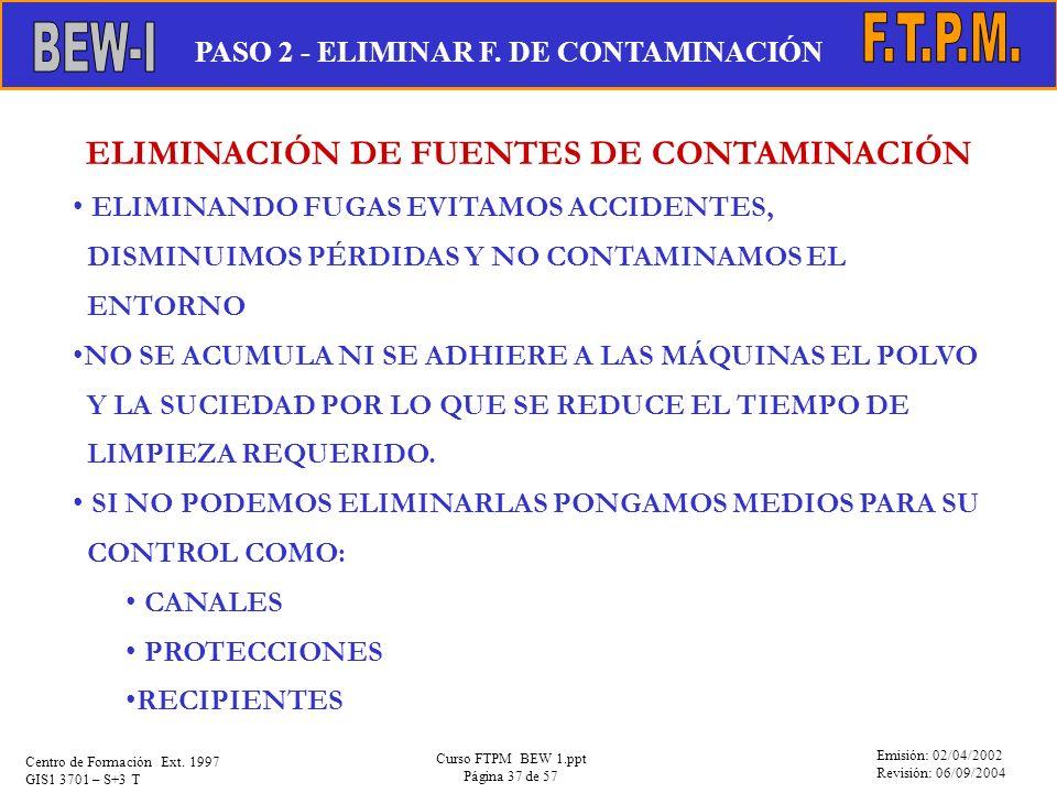 Emisión: 02/04/2002 Revisión: 06/09/2004 Centro de Formación Ext. 1997 GIS1 3701 – S+3 T Curso FTPM BEW 1.ppt Página 37 de 57 ELIMINACIÓN DE FUENTES D