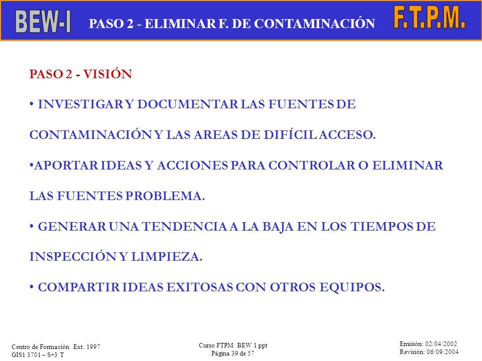 Emisión: 02/04/2002 Revisión: 06/09/2004 Centro de Formación Ext. 1997 GIS1 3701 – S+3 T Curso FTPM BEW 1.ppt Página 39 de 57 PASO 2 - VISIÓN INVESTIG