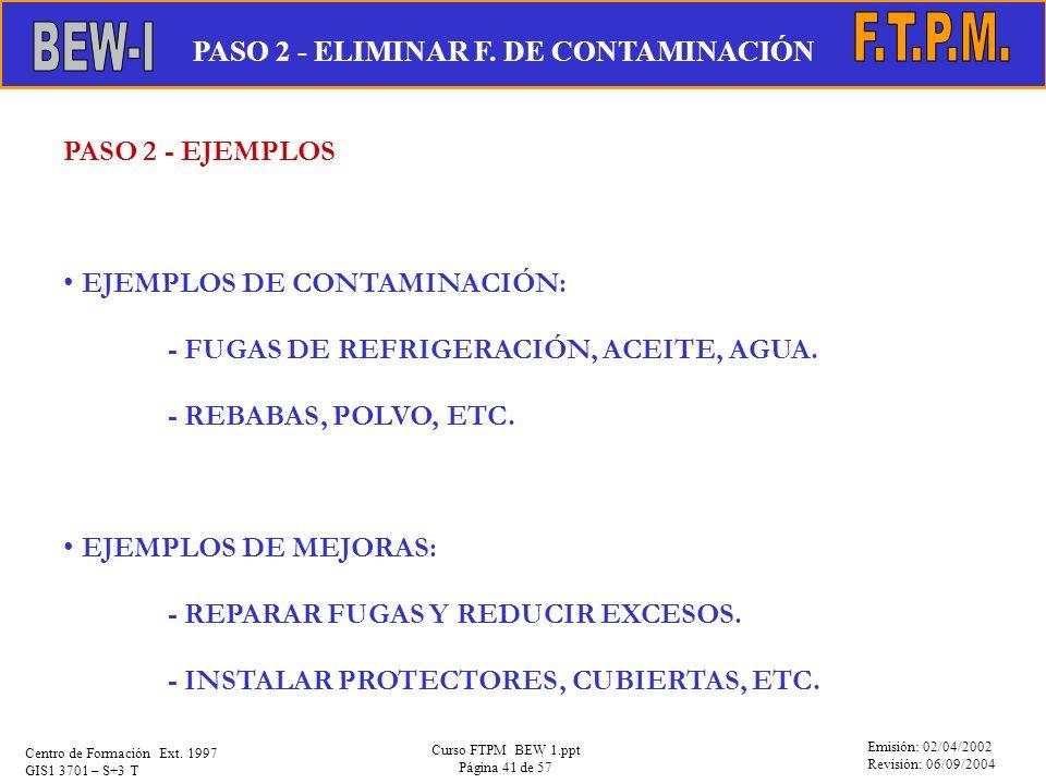 Emisión: 02/04/2002 Revisión: 06/09/2004 Centro de Formación Ext. 1997 GIS1 3701 – S+3 T Curso FTPM BEW 1.ppt Página 41 de 57 PASO 2 - EJEMPLOS EJEMPL