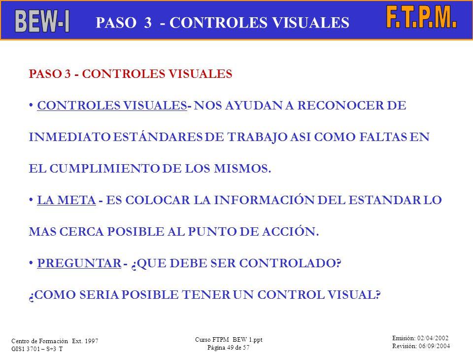 Emisión: 02/04/2002 Revisión: 06/09/2004 Centro de Formación Ext. 1997 GIS1 3701 – S+3 T Curso FTPM BEW 1.ppt Página 49 de 57 PASO 3 - CONTROLES VISUA