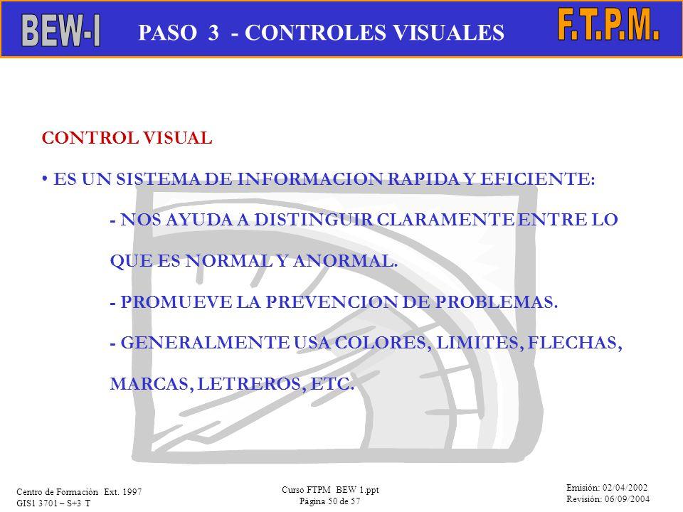 Emisión: 02/04/2002 Revisión: 06/09/2004 Centro de Formación Ext. 1997 GIS1 3701 – S+3 T Curso FTPM BEW 1.ppt Página 50 de 57 CONTROL VISUAL ES UN SIS