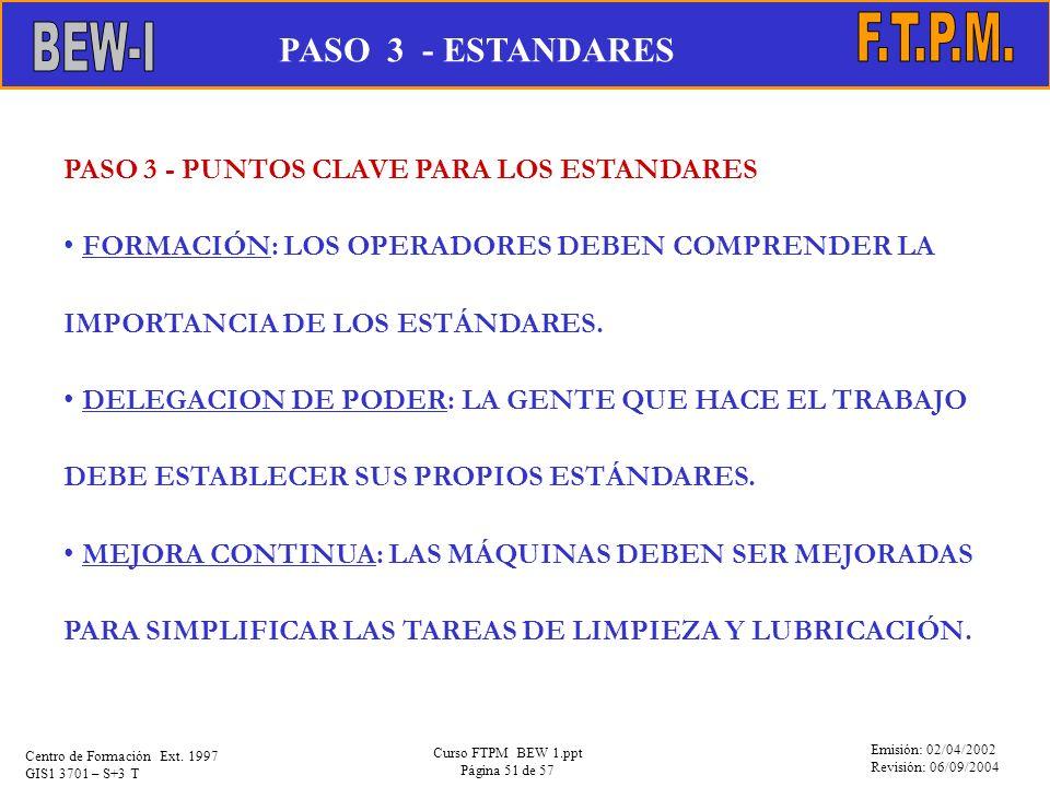 Emisión: 02/04/2002 Revisión: 06/09/2004 Centro de Formación Ext. 1997 GIS1 3701 – S+3 T Curso FTPM BEW 1.ppt Página 51 de 57 PASO 3 - PUNTOS CLAVE PA