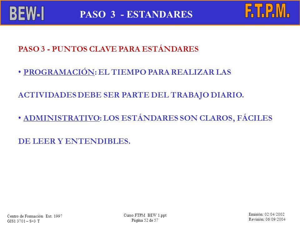 Emisión: 02/04/2002 Revisión: 06/09/2004 Centro de Formación Ext. 1997 GIS1 3701 – S+3 T Curso FTPM BEW 1.ppt Página 52 de 57 PASO 3 - PUNTOS CLAVE PA