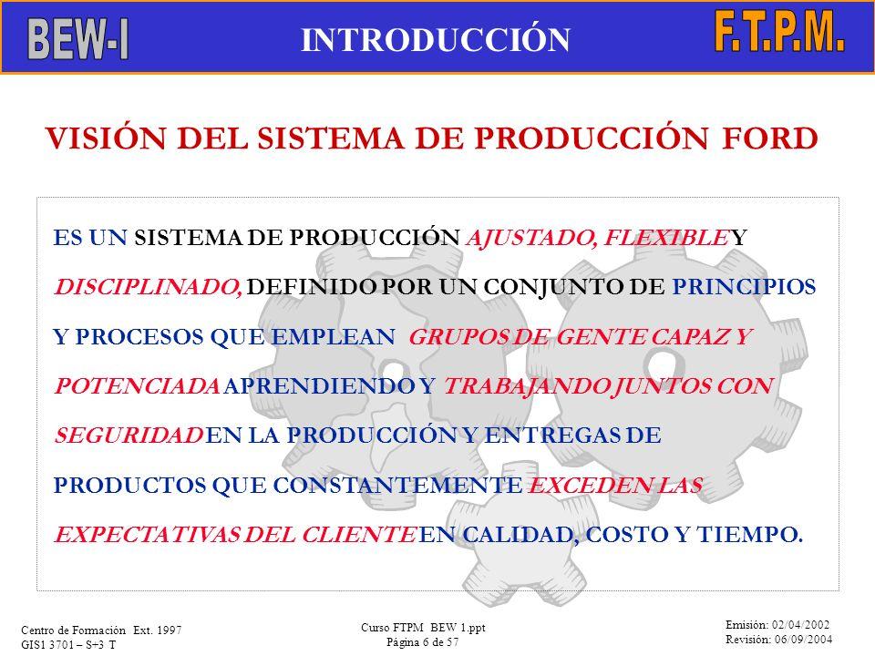 Emisión: 02/04/2002 Revisión: 06/09/2004 Centro de Formación Ext. 1997 GIS1 3701 – S+3 T Curso FTPM BEW 1.ppt Página 6 de 57 ES UN SISTEMA DE PRODUCCI
