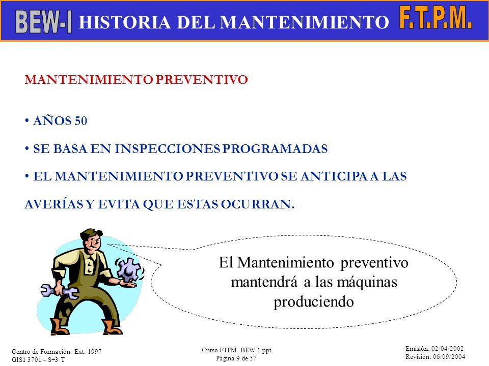 Emisión: 02/04/2002 Revisión: 06/09/2004 Centro de Formación Ext. 1997 GIS1 3701 – S+3 T Curso FTPM BEW 1.ppt Página 9 de 57 MANTENIMIENTO PREVENTIVO