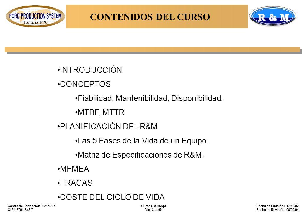 Valencia V.O. R & M Centro de Formación Ext. 1997 GIS1 3701 S+3 T Curso R & M.ppt Pág. 3 de 54 Fecha de Emisión: 17/12/02 Fecha de Revisión: 06/09/04