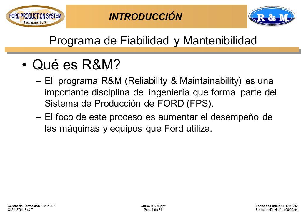 Valencia V.O. R & M Centro de Formación Ext. 1997 GIS1 3701 S+3 T Curso R & M.ppt Pág. 4 de 54 Fecha de Emisión: 17/12/02 Fecha de Revisión: 06/09/04