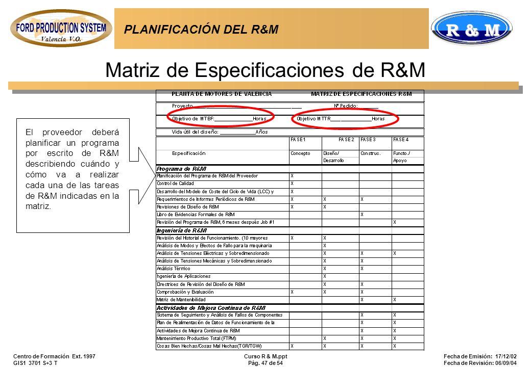Valencia V.O. R & M Centro de Formación Ext. 1997 GIS1 3701 S+3 T Curso R & M.ppt Pág. 47 de 54 Fecha de Emisión: 17/12/02 Fecha de Revisión: 06/09/04