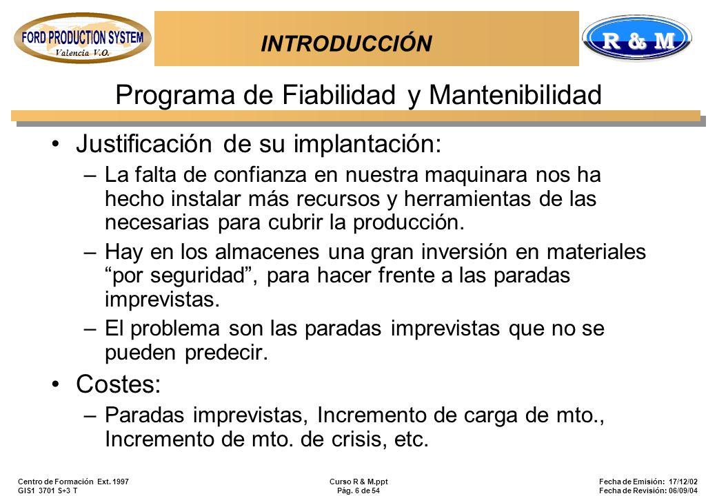 Valencia V.O. R & M Centro de Formación Ext. 1997 GIS1 3701 S+3 T Curso R & M.ppt Pág. 6 de 54 Fecha de Emisión: 17/12/02 Fecha de Revisión: 06/09/04