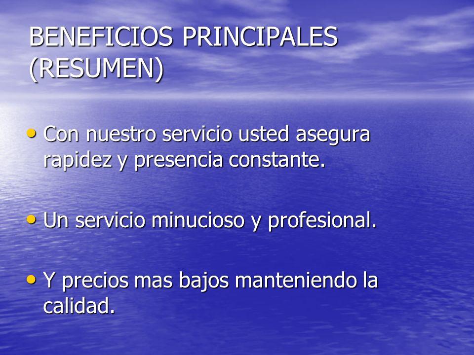 BENEFICIOS PRINCIPALES (RESUMEN) Con nuestro servicio usted asegura rapidez y presencia constante. Con nuestro servicio usted asegura rapidez y presen