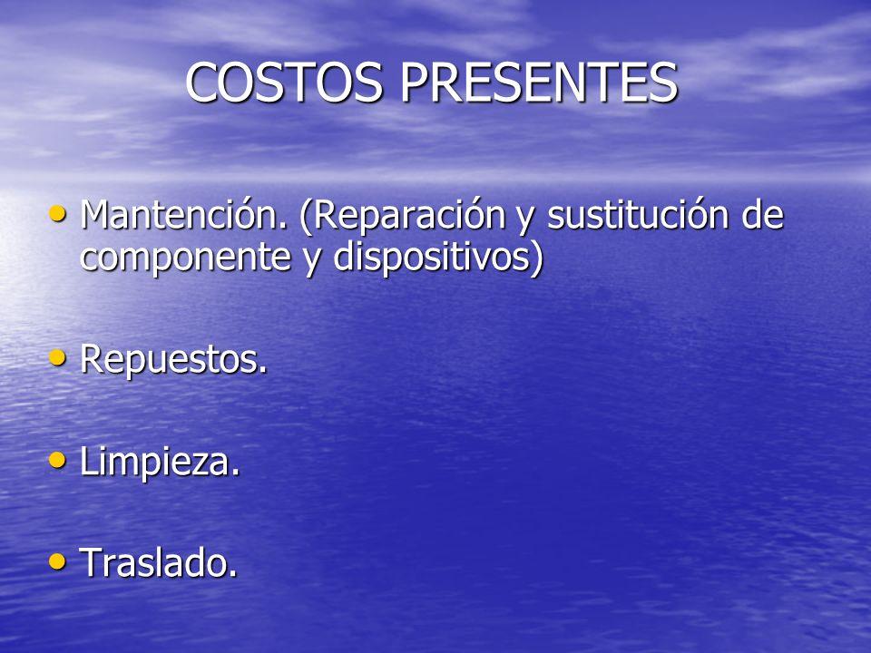 COSTOS PRESENTES COSTOS PRESENTES Mantención. (Reparación y sustitución de componente y dispositivos) Mantención. (Reparación y sustitución de compone