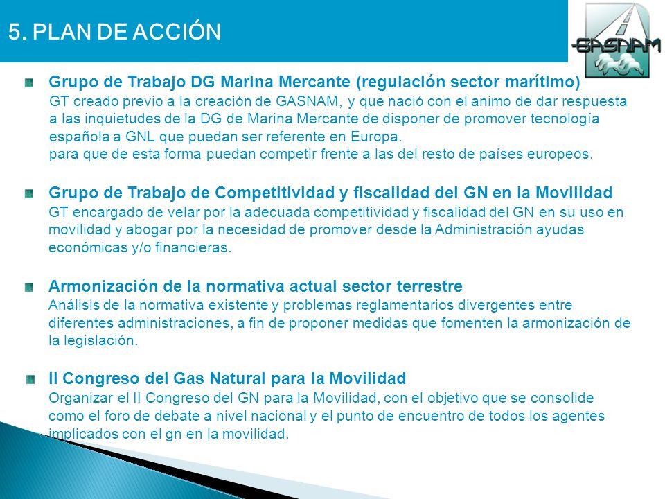 5. PLAN DE ACCIÓN Grupo de Trabajo DG Marina Mercante (regulación sector marítimo) GT creado previo a la creación de GASNAM, y que nació con el animo