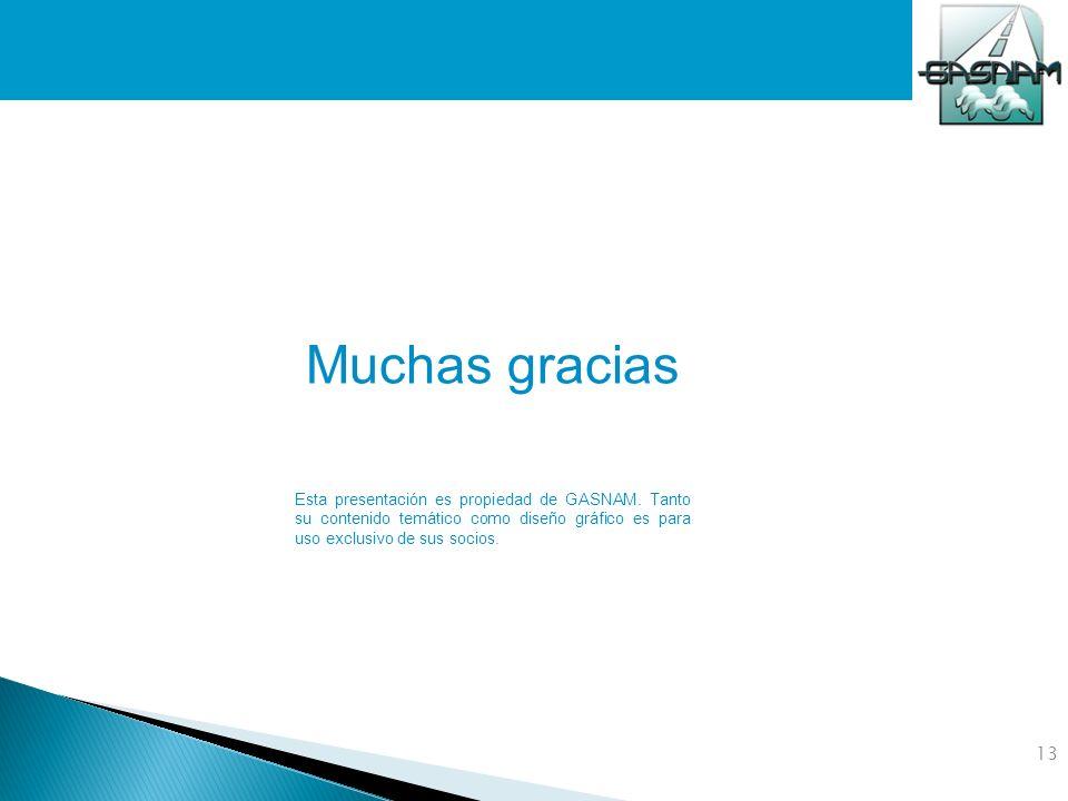 13 Muchas gracias Esta presentación es propiedad de GASNAM. Tanto su contenido temático como diseño gráfico es para uso exclusivo de sus socios.