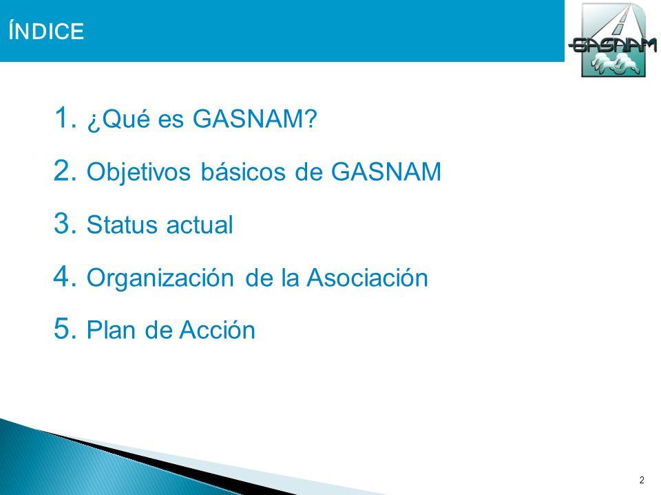 2 ÍNDICE 1. ¿Qué es GASNAM? 2. Objetivos básicos de GASNAM 3. Status actual 4. Organización de la Asociación 5. Plan de Acción