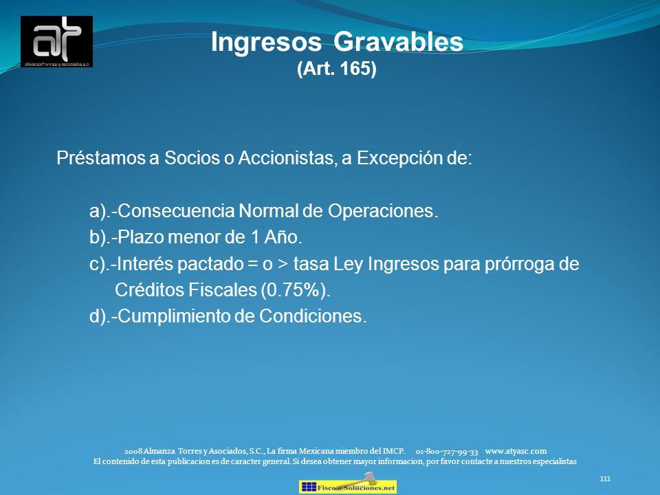 111 Ingresos Gravables (Art. 165) Préstamos a Socios o Accionistas, a Excepción de: a).-Consecuencia Normal de Operaciones. b).-Plazo menor de 1 Año.