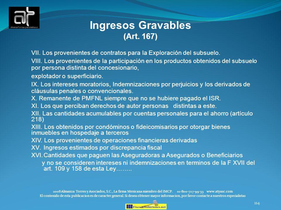 114 Ingresos Gravables (Art. 167) VII. Los provenientes de contratos para la Exploración del subsuelo. VIII. Los provenientes de la participación en l