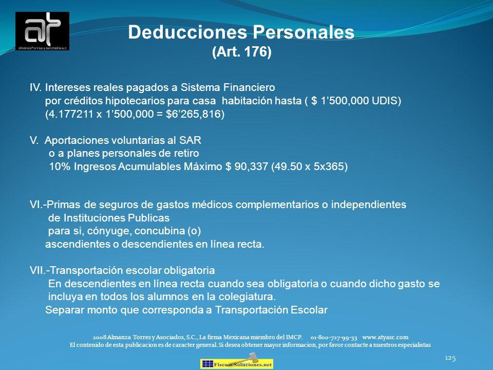 125 IV. Intereses reales pagados a Sistema Financiero por créditos hipotecarios para casa habitación hasta ( $ 1500,000 UDIS) (4.177211 x 1500,000 = $