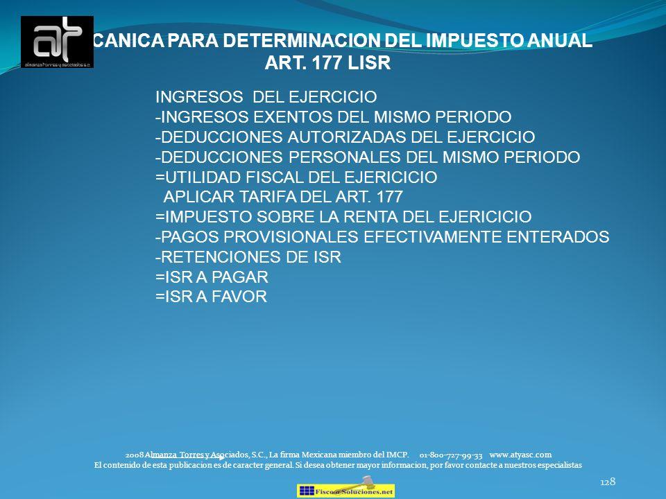 128 2008 Almanza Torres y Asociados, S.C., La firma Mexicana miembro del IMCP. 01-800-727-99-33 www.atyasc.com El contenido de esta publicacion es de